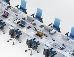 Desk without partition